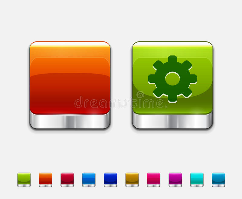 Glossy color templates for square buttons royalty free illustration