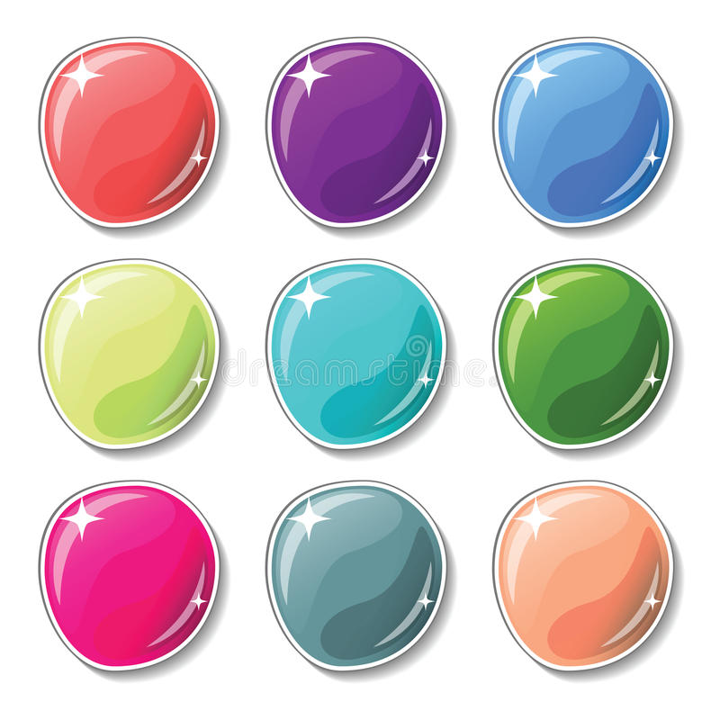 Glossy colored buttons with drop shadow effect. Blank buttons set for web design or game graphic. royalty free illustration