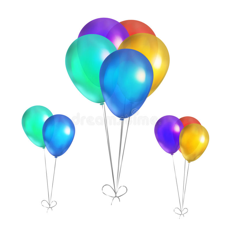 Glossy colorful balloons isolated on white royalty free illustration