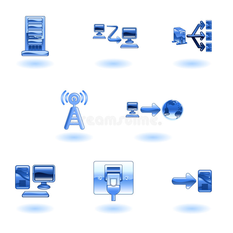 Glossy Computer Network Icon Set vector illustration
