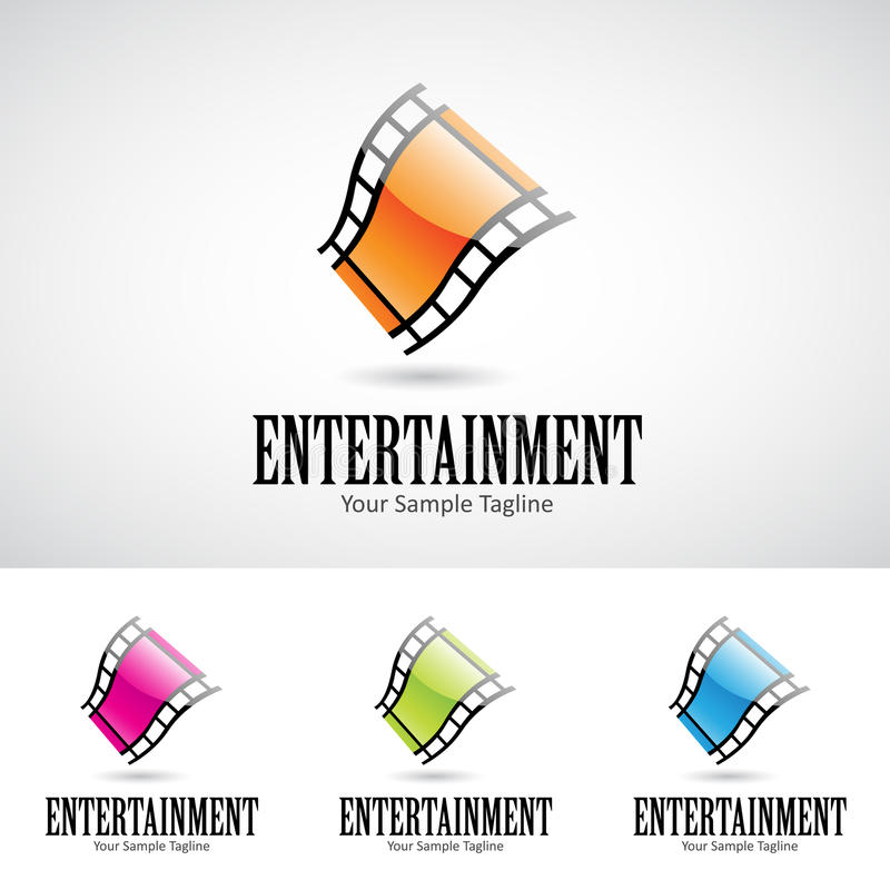 Glossy 3d Cartoon Film Reel Logo Icon stock illustration
