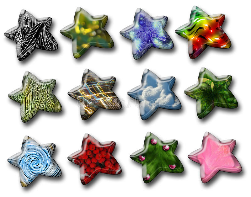 Glossy decorative stars. With various patterns. Desighn elements isolated on white background royalty free illustration