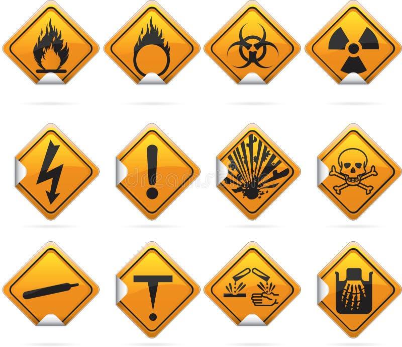 Glossy Diamond Hazard Stickers Stock Vector Illustration Of