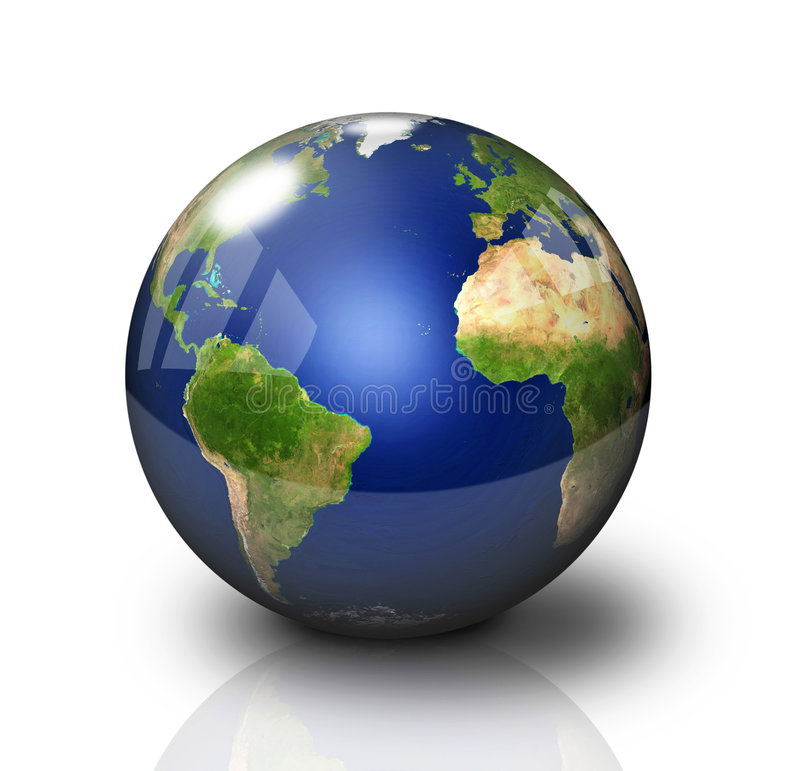 Glossy Earth Globe. On white background with reflection royalty free illustration