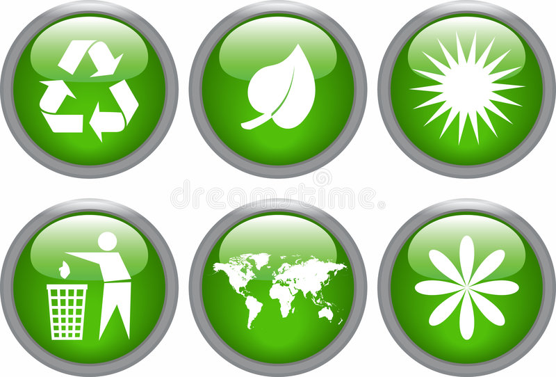 Download Glossy ecology icon set stock vector. Illustration of organic - 7680172