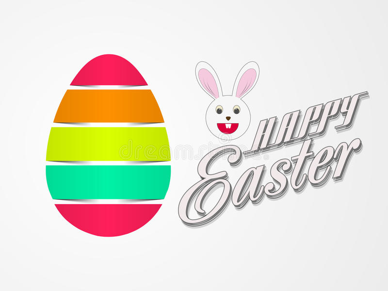 Glossy egg with bunny for Happy Easter celebration. royalty free illustration