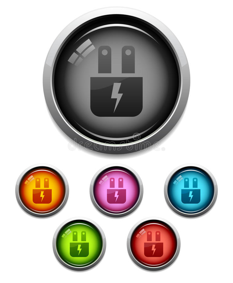 Glossy electric plug icon royalty free illustration