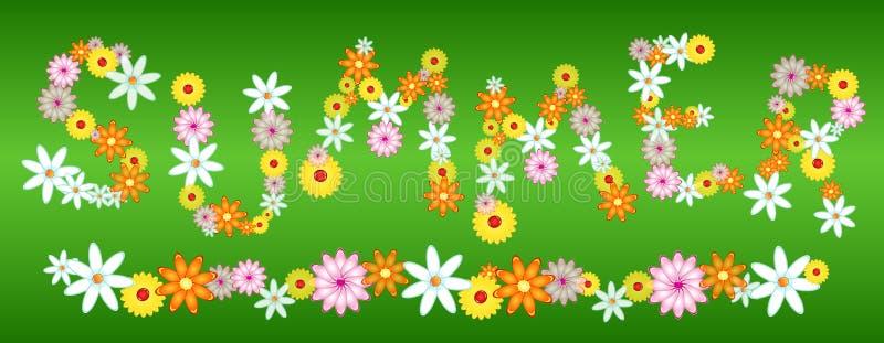 Glossy flower SUMMER letters on green stock illustration