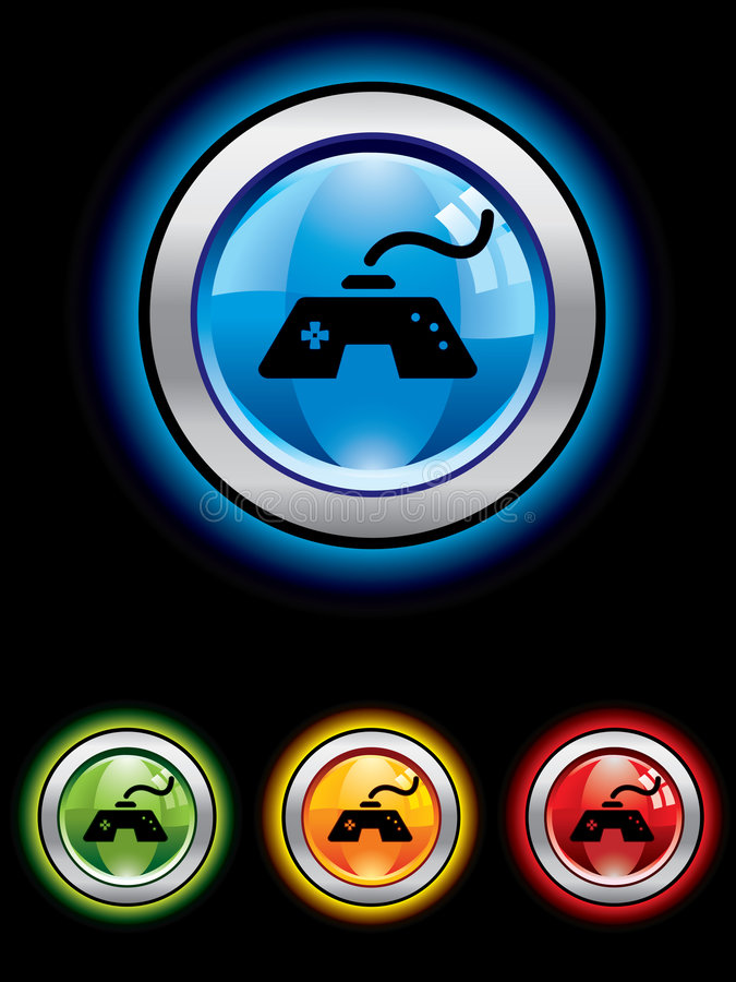 Glossy gaming button stock photos