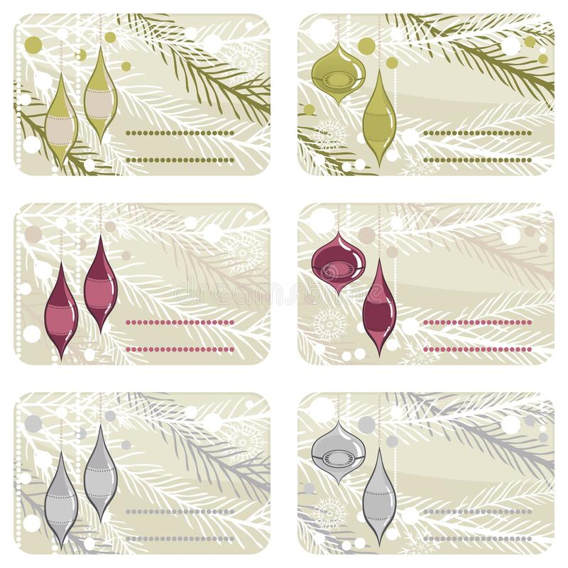 Glossy glass balls gift label set vector illustration