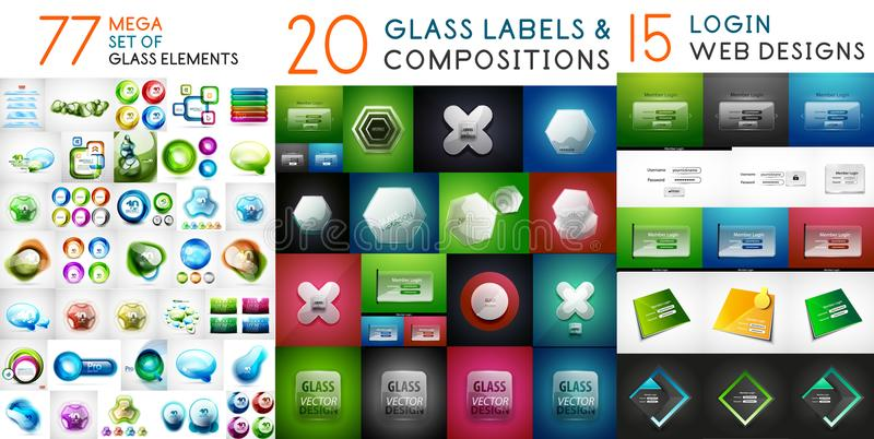 Glossy glass banners with reflections, vector huge mega collection royalty free illustration