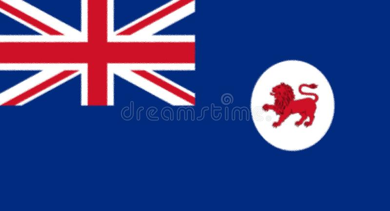 Flag of Tasmania. Glossy glass Flag of Tasmania is an island state of Australia. It is located 240 km 150 mi to the south of the Australian mainland, separated royalty free illustration