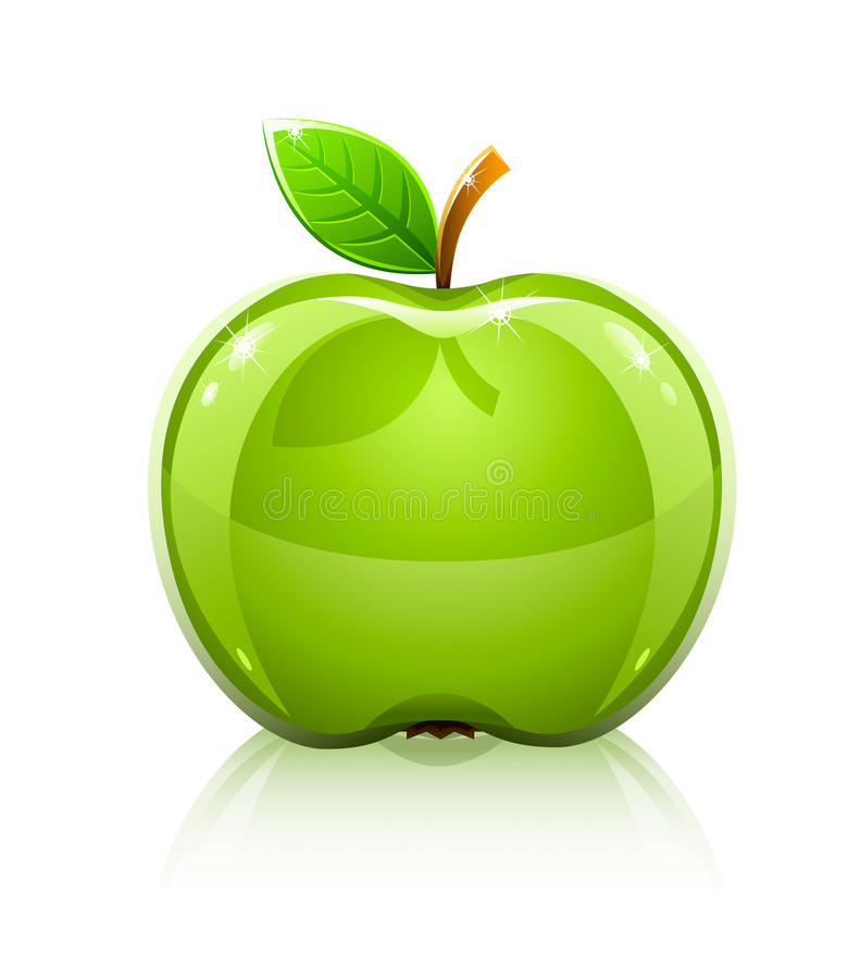 Download Glossy Glass Green Apple With Leaf Stock Illustration - Image: 12248896