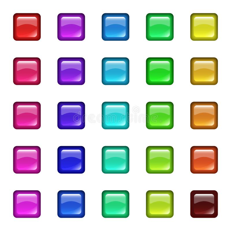 Glossy glass squares with reflection vector illustration