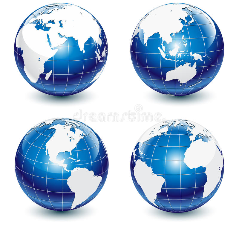 Glossy Globes. Set of highly detailed glossy Earth-globes vector illustration