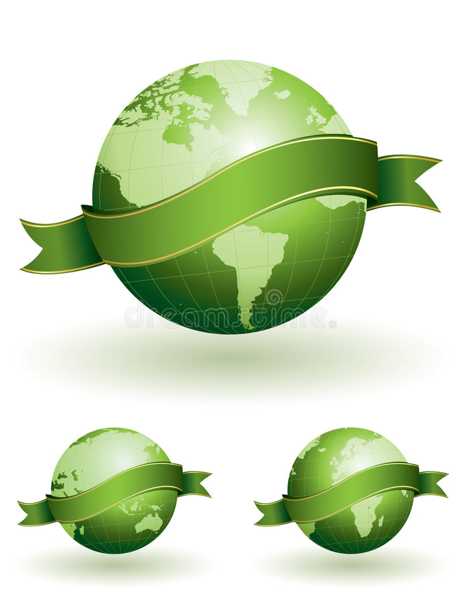 Glossy globes with banners vector illustration