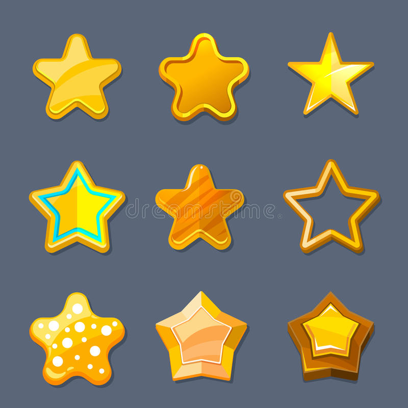 Glossy gold cartoon star vector icons for game, ui, app design stock illustration