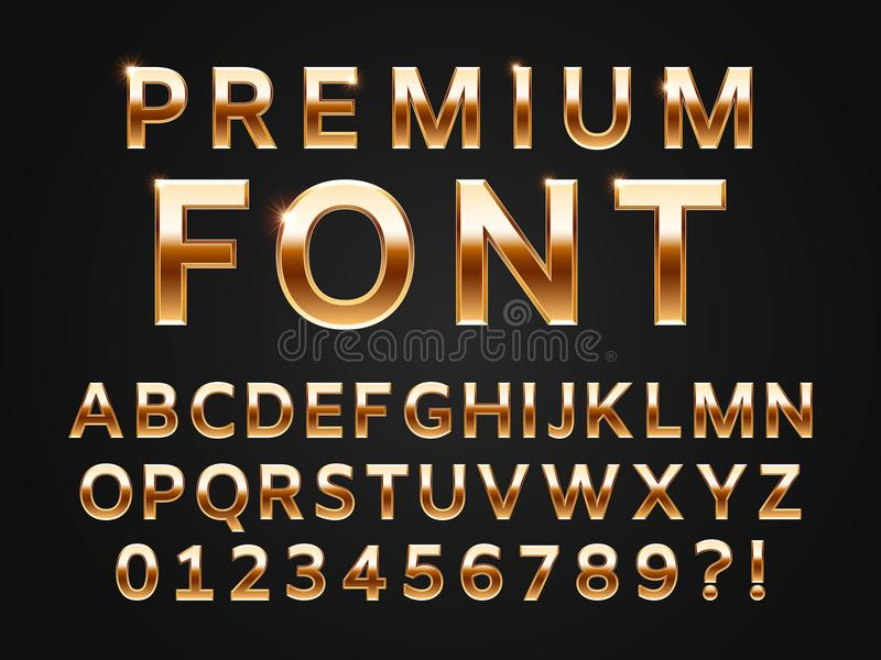 Glossy gold typeface, shine alphabet letters collection for premium text design. Golden gloss metal vector sans font vector illustration