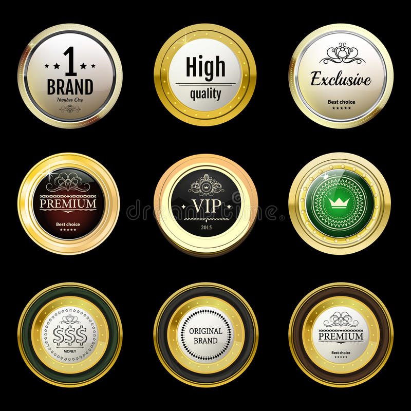 Glossy and gold vintage labels . Colored stones set in gold. Bro stock photos