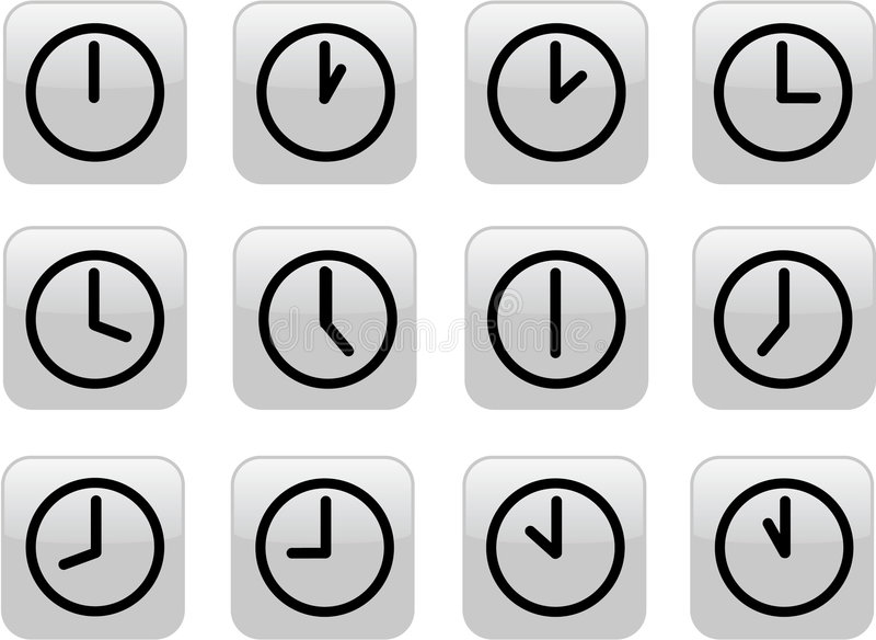 Glossy gray clocks royalty free illustration