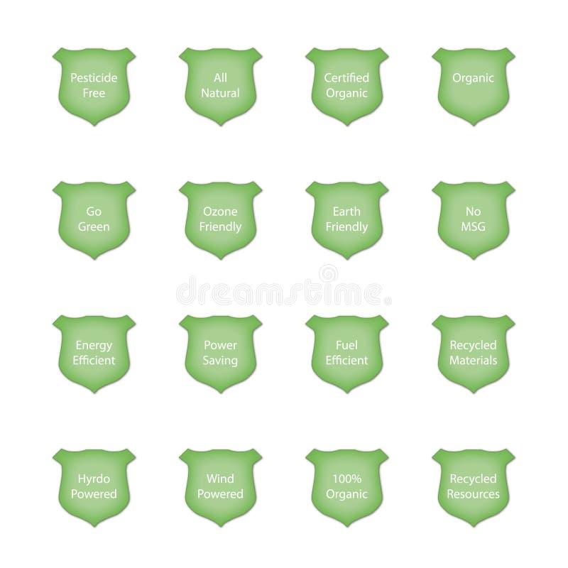Glossy Green Crest Icon Set royalty free illustration
