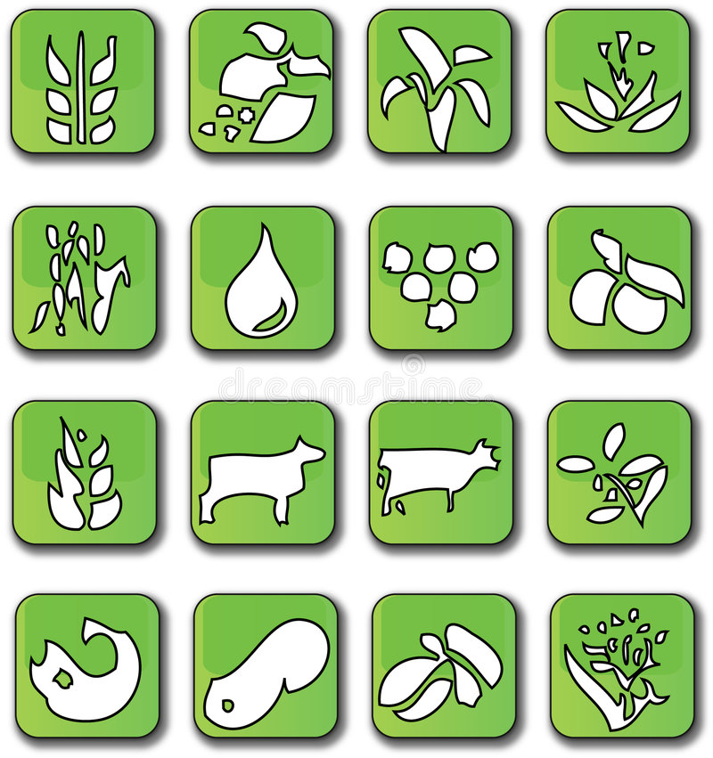 Download Glossy Green Farming Crop Icons Stock Vector - Image: 7947989
