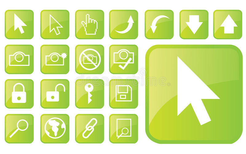 Glossy green icons part1 stock illustration
