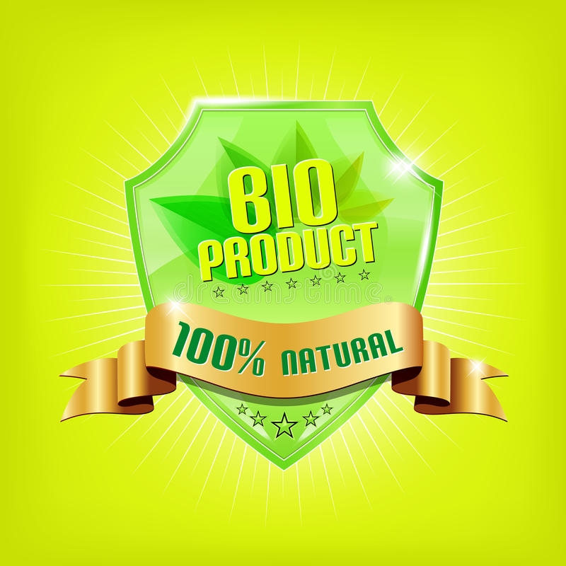 Download Glossy Green Shield - BIO PRODUCT Stock Vector - Image: 23821934
