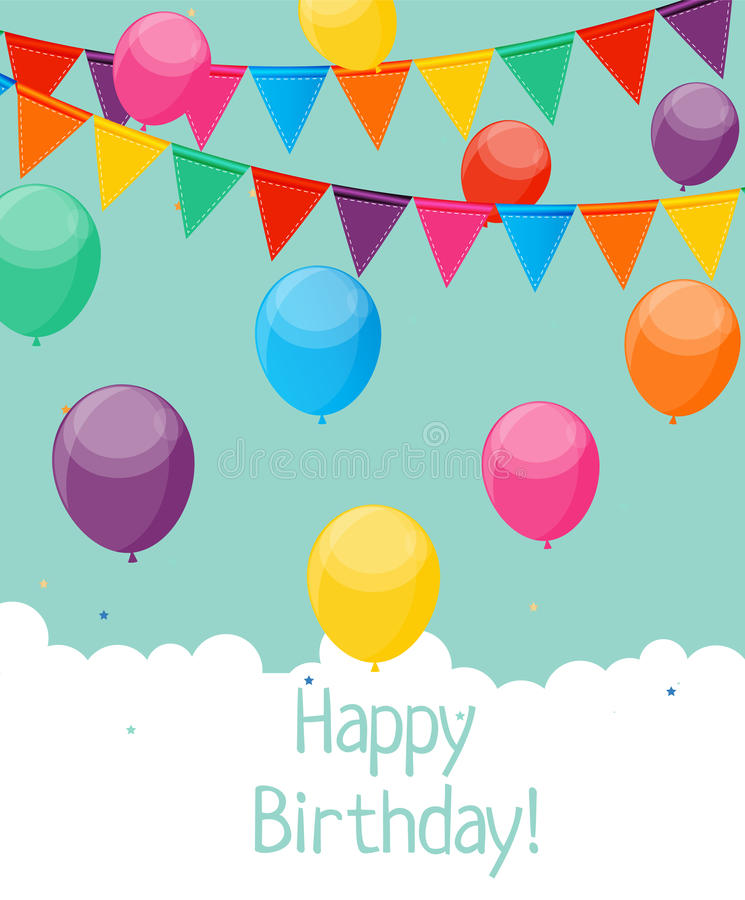 Glossy Happy Birthday Balloons Background Vector Illustration. Eps10 stock illustration