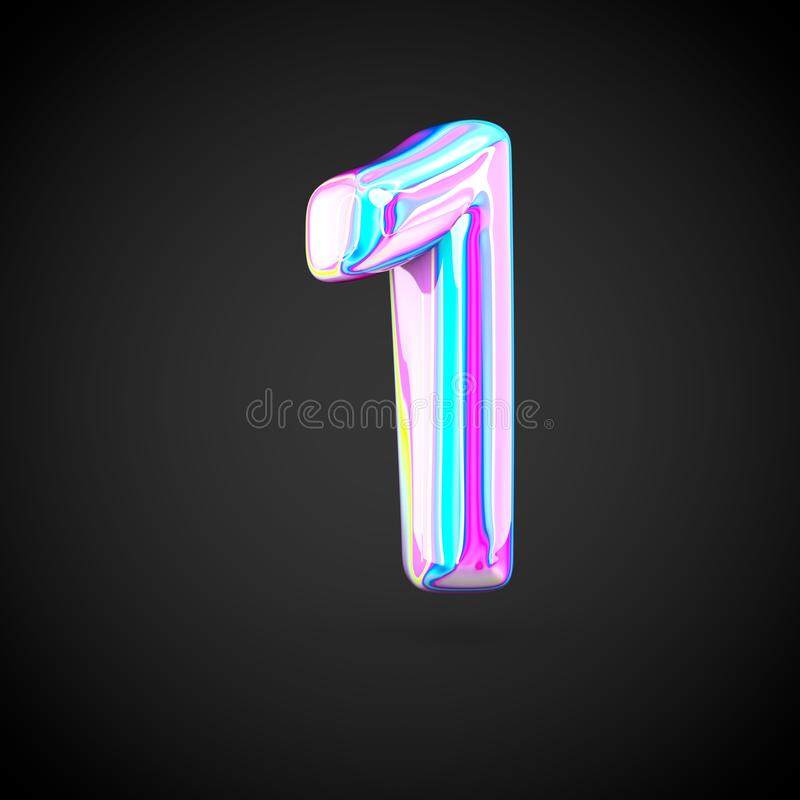 Glossy holographic number 1 isolated on black background. vector illustration