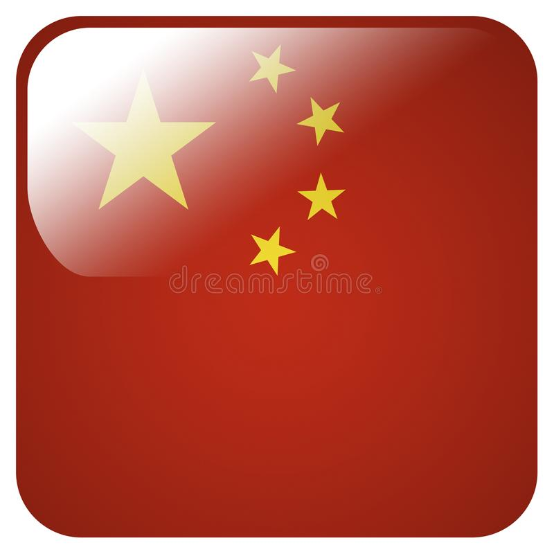 Glossy icon with flag of China royalty free illustration