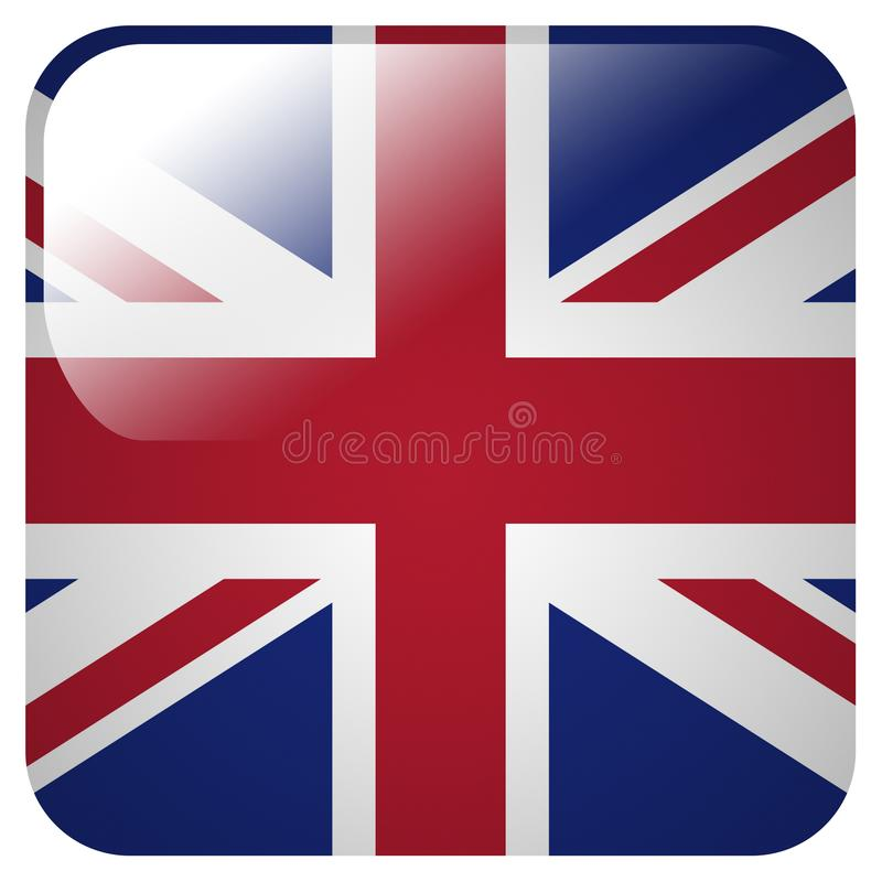 Glossy icon with flag of Great Britain vector illustration
