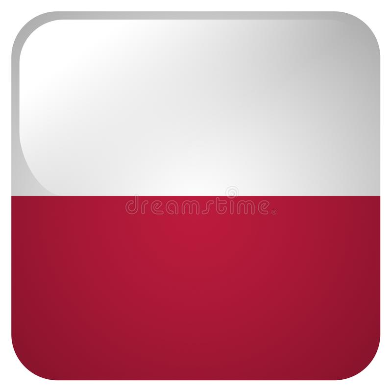 Glossy icon with flag of Poland vector illustration