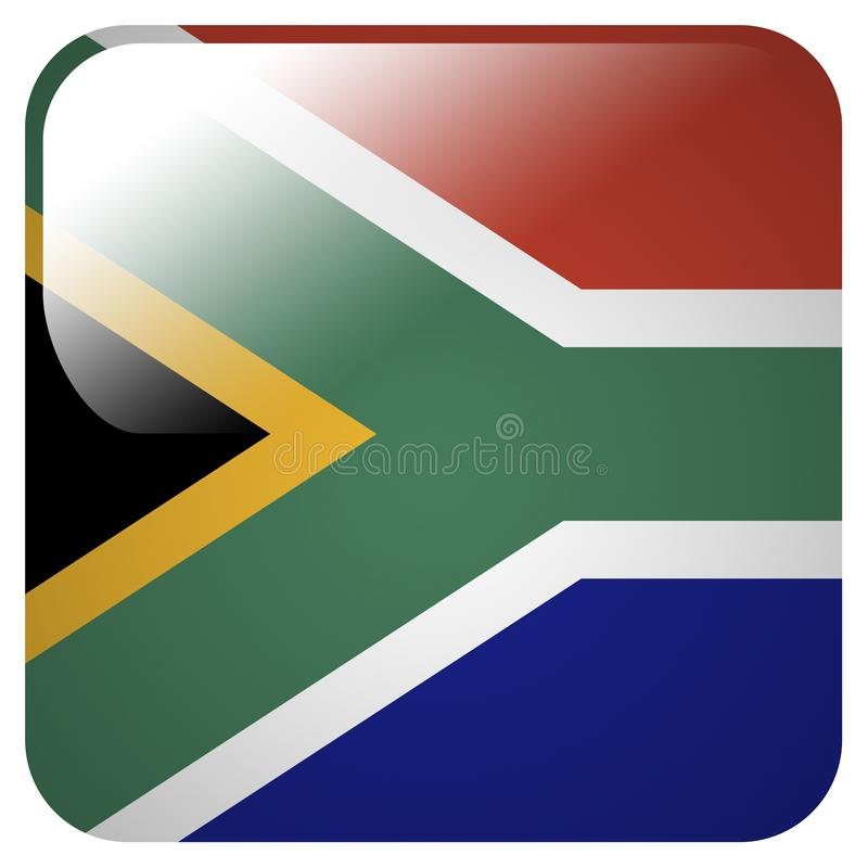 Glossy icon with flag of South Africa stock illustration
