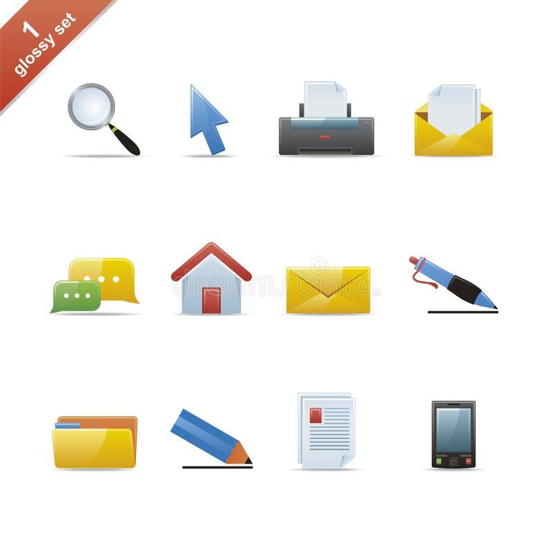 Glossy icon set 1 royalty free stock image