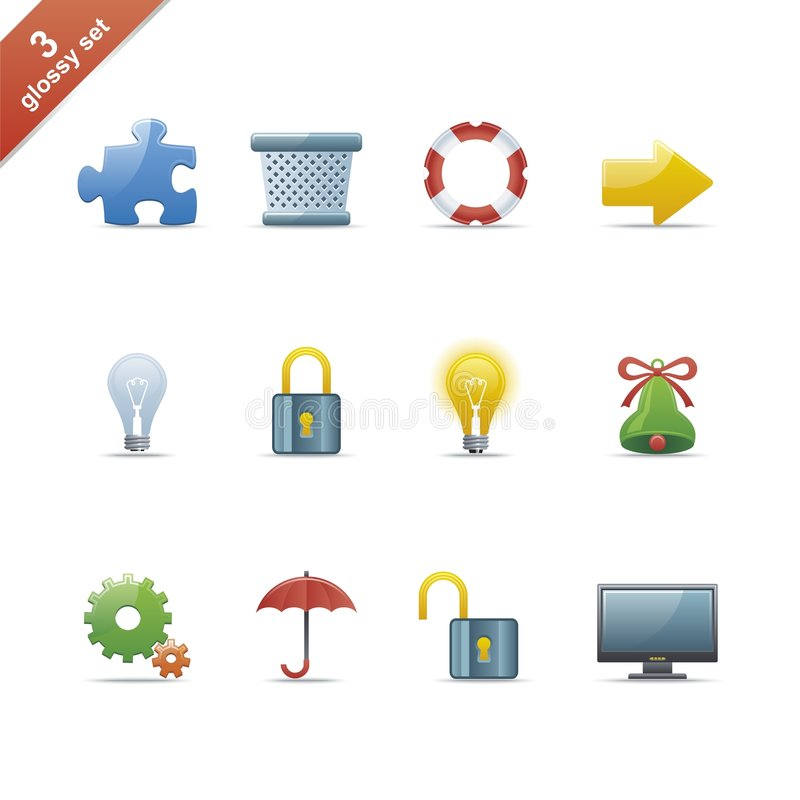 Glossy icon set 3. Set of 12 glossy web icons Part 3 (see other in my portfolio royalty free illustration