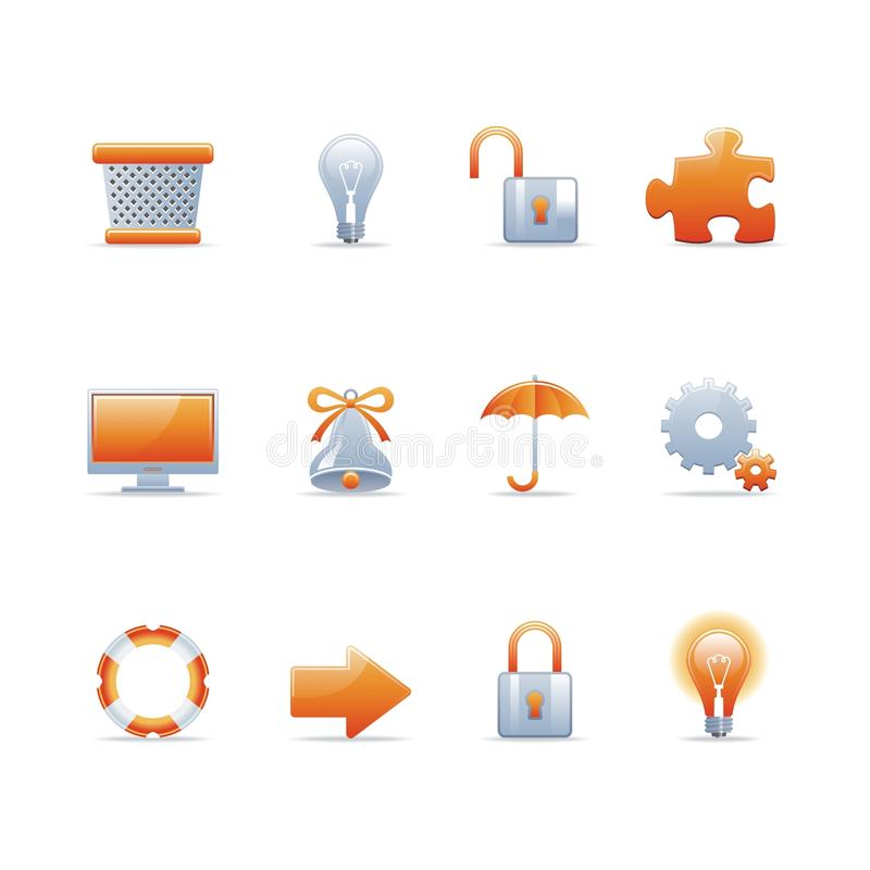 Glossy icon set 3. Set of 12 glossy web icons Part 3 (see other in my portfolio stock illustration