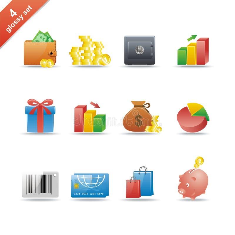 Glossy icon set 4 royalty free stock image