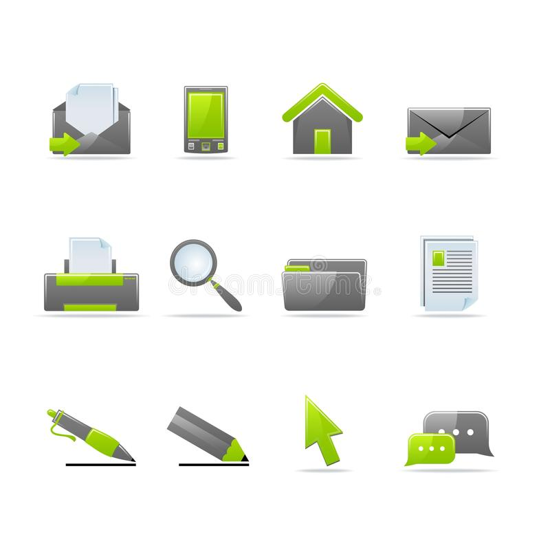 Glossy icon set. Set of 12 glossy web icons (see other in my portfolio royalty free illustration