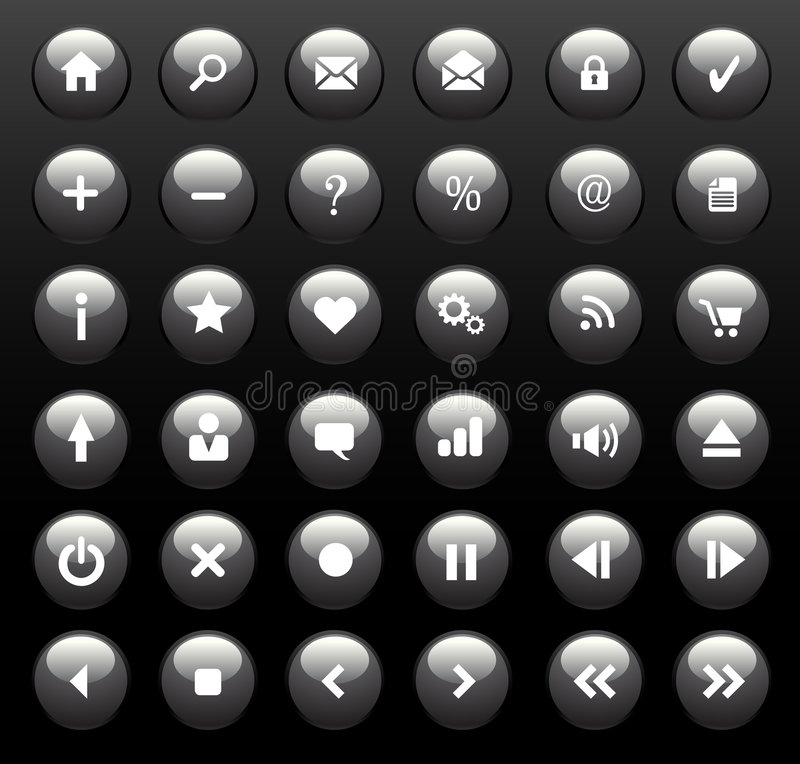 Glossy Icons / Buttons royalty free stock photo