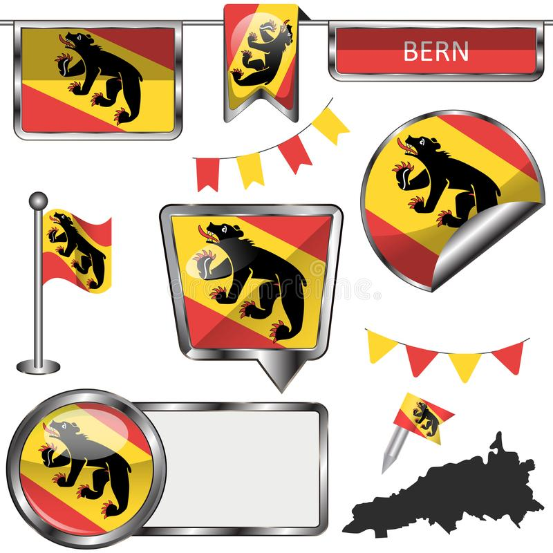 Glossy icons with flag of Bern royalty free illustration