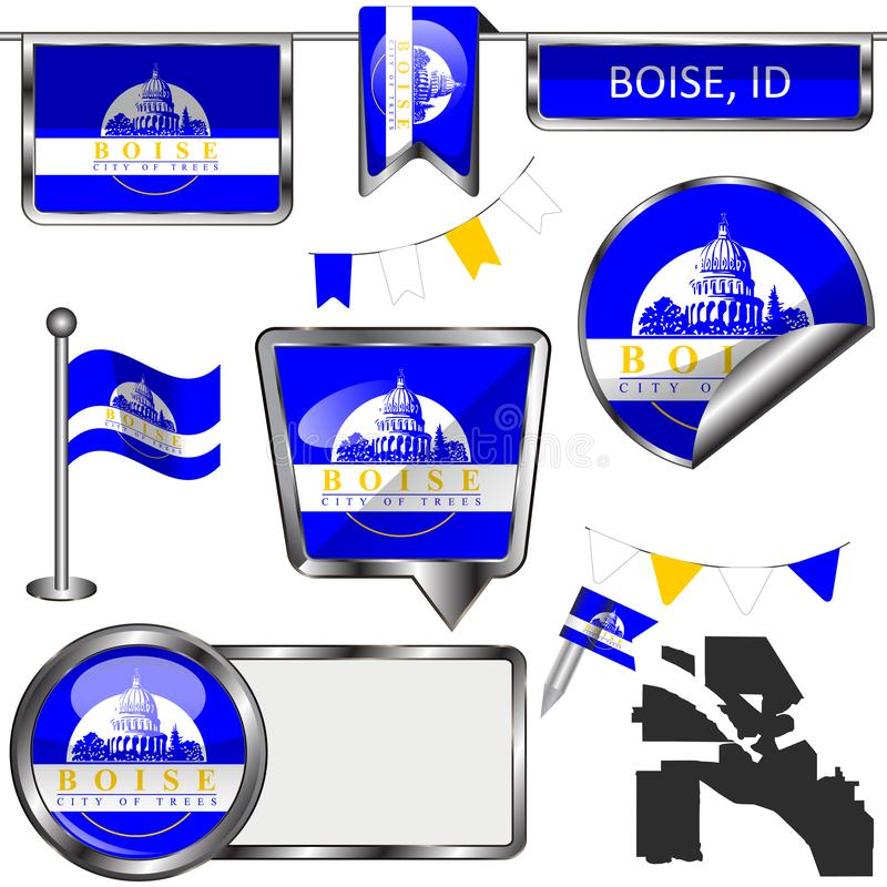 Glossy icons with flag of Boise, ID stock illustration