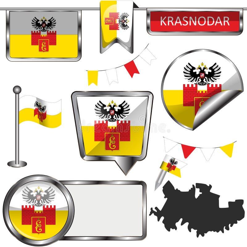 Glossy icons with flag of Krasnodar vector illustration