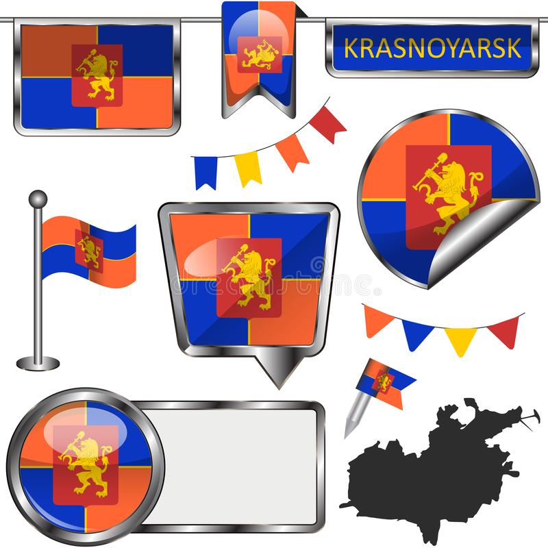 Glossy icons with flag of Krasnoyarsk royalty free illustration