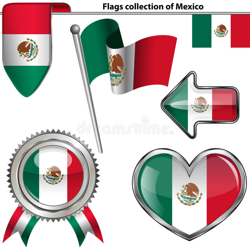 Glossy icons with flag of Mexico vector illustration