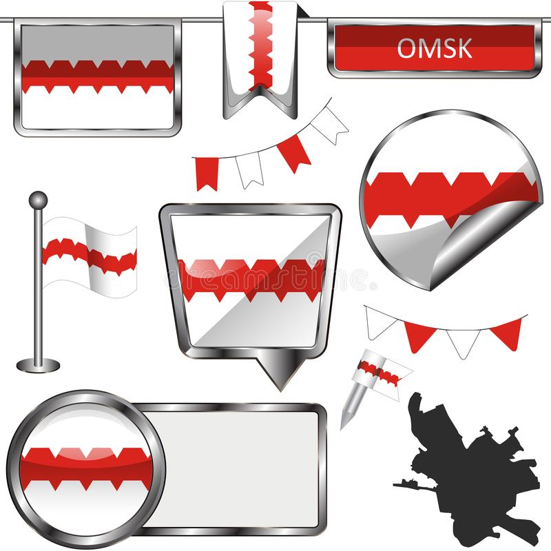 Glossy icons with flag of Omsk stock illustration