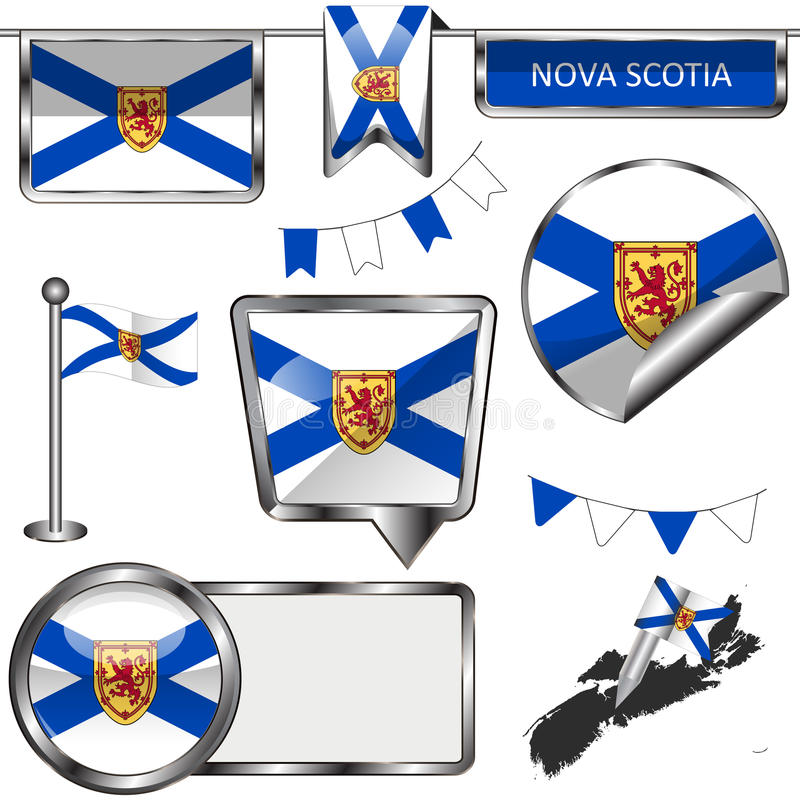 Glossy icons with flag of province Nova Scotia vector illustration