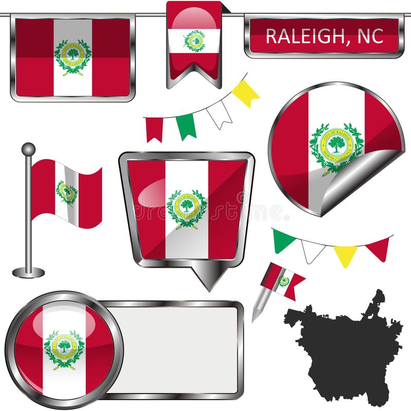 Glossy icons with flag of Raleigh, NC stock images