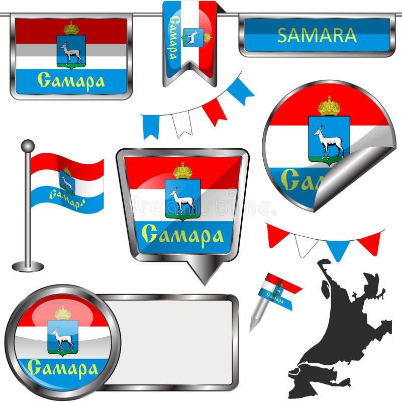 Glossy icons with flag of Samara vector illustration
