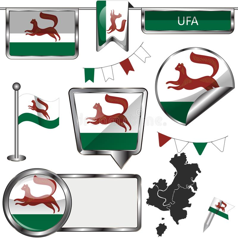 Glossy icons with flag of Ufa vector illustration